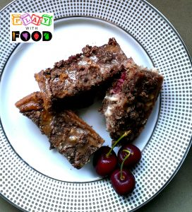 Chocolate and Cherry Crumble Slice by Play with Food