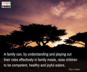 A family can, by understanding and playing out their roles effectively in family meals, raise children to be competent, healthy and joyful eaters. Ellyn Satter | Play with Food