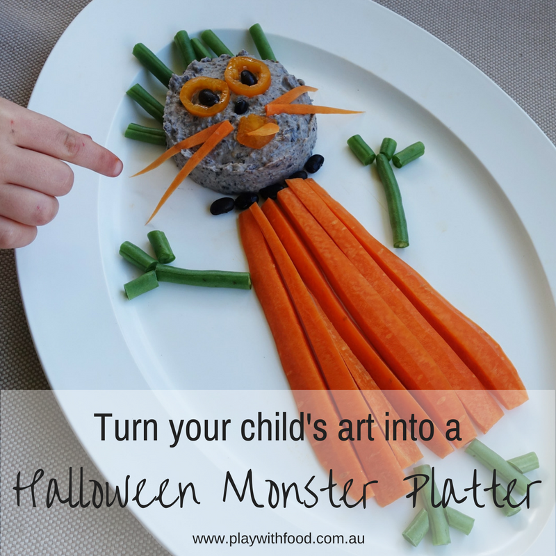 Turn Your Child's Monster Drawing into a Halloween Vegie Platter