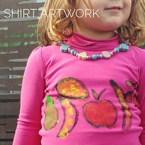 Painting kids clothes using acrylic paints and a fruit theme