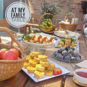 Book launch food for At My Family Table
