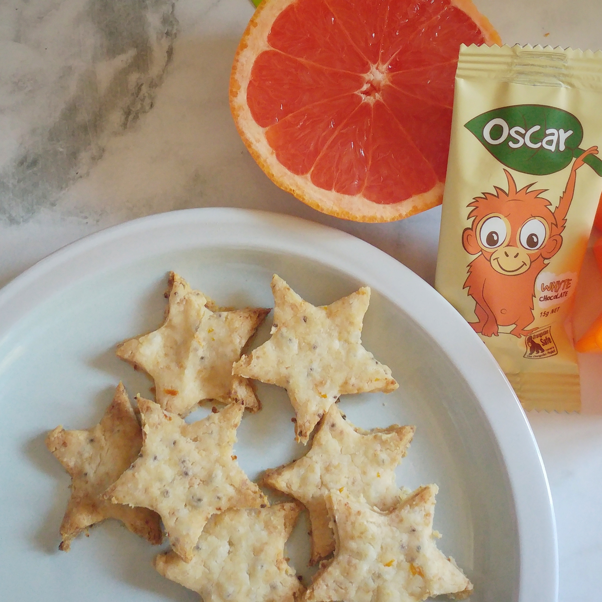 Whyte Chocolate and Grapefruit Zest Stars {Gluten Free, Egg Free, Dairy Free and Low Sugar}