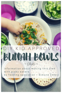 Simone Emery presents picky eater information pertaining to making mixed texture meals like a buddah bowl as part of a family style meal | Play with Food by Simone Emery